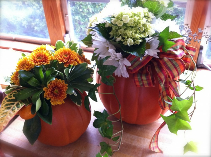bastelideen herbst dekoideen kürbisse herbstblumen