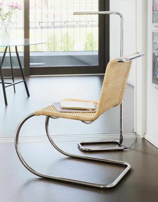bauhaus-stil möbel stuhl stahl rattan