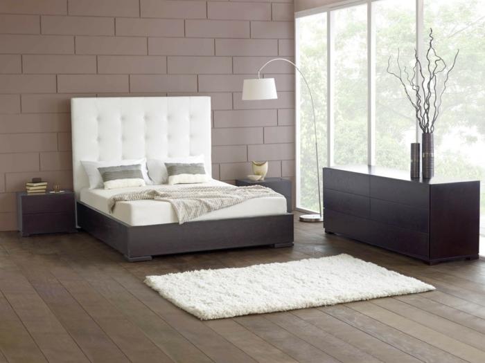 betten design elegantes bettkopfteil weißer teppich holzboden