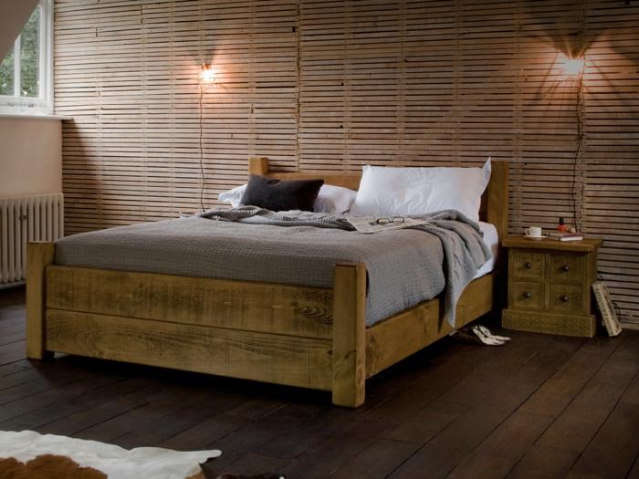 Betten design jedes schlafzimmer braucht doch ein for Hohes holzbett