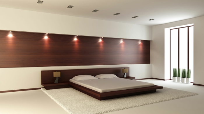 betten design minimalistisch weißer teppich eingebaute leuchten tischlampen
