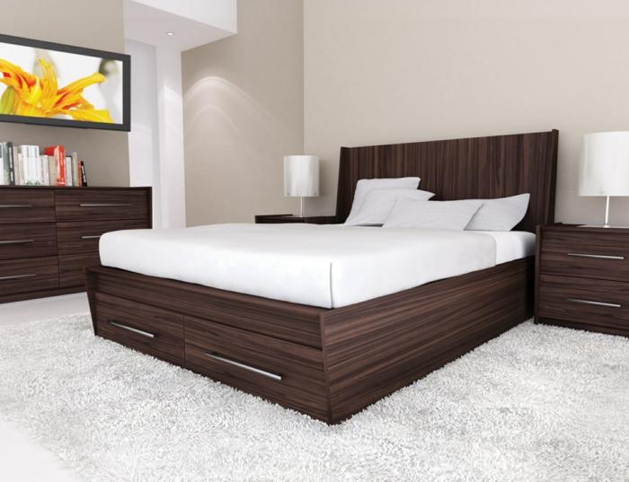 betten design schubladen weißer teppich schlafzimmer kommode