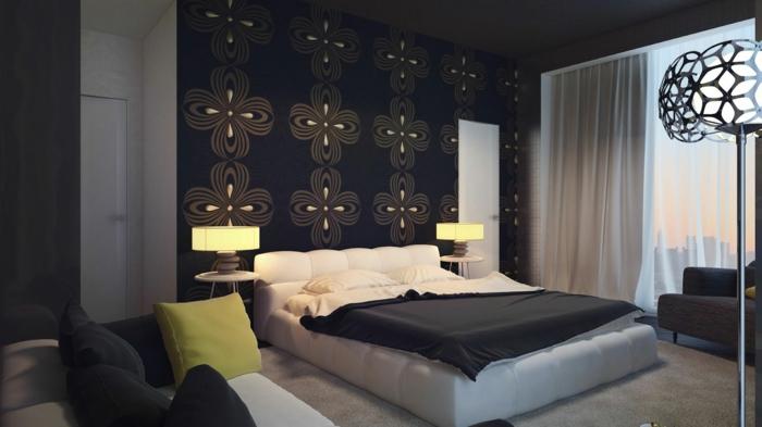 design betten schöne akzentwand sofa teppich