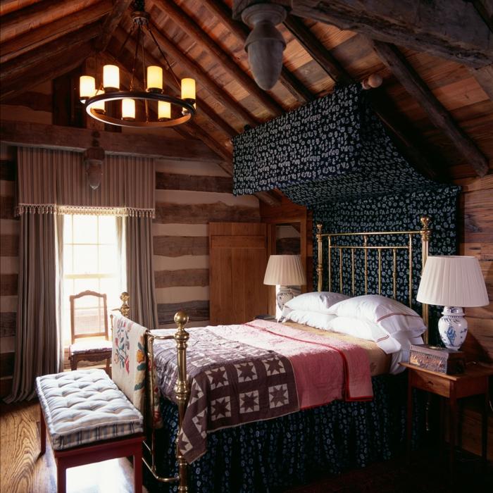 design betten schlafzimmer rustikaler look leuchter schöner boden