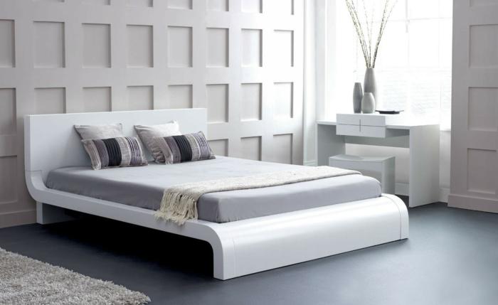 design betten weiß grauer boden schöne wandgestaltung schlafzimmer