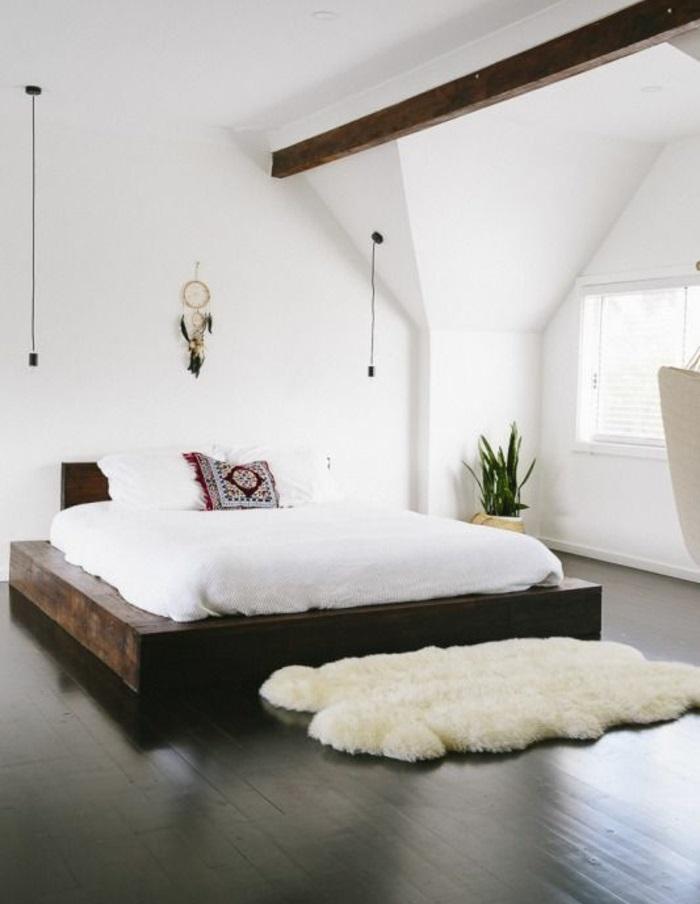 designer betten komfortables bett schlafzimmer fellteppich