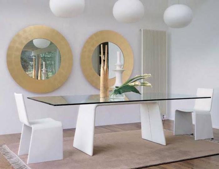 ovale Form Esstisch mit Glasplatte