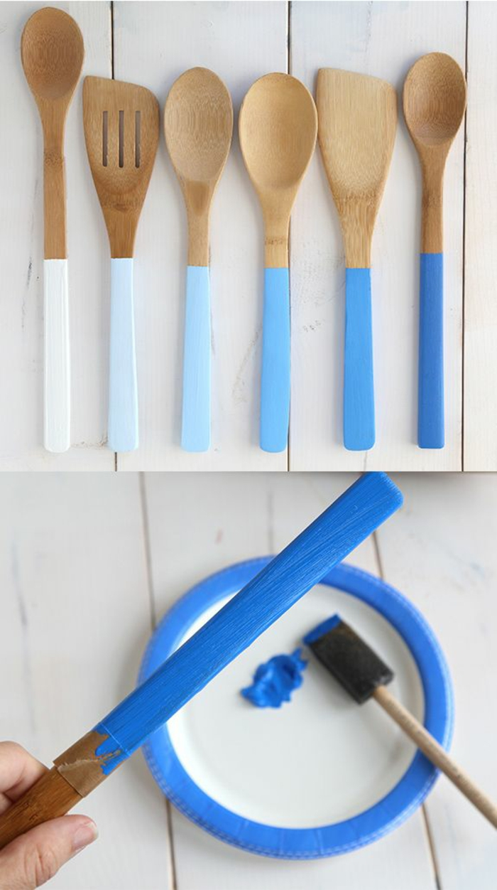 diy wohnideen küchenideen holzlöffel färblich aufpeppen