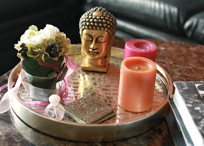 einrichtungsideen schöne dekoideen buddha figur kerzen