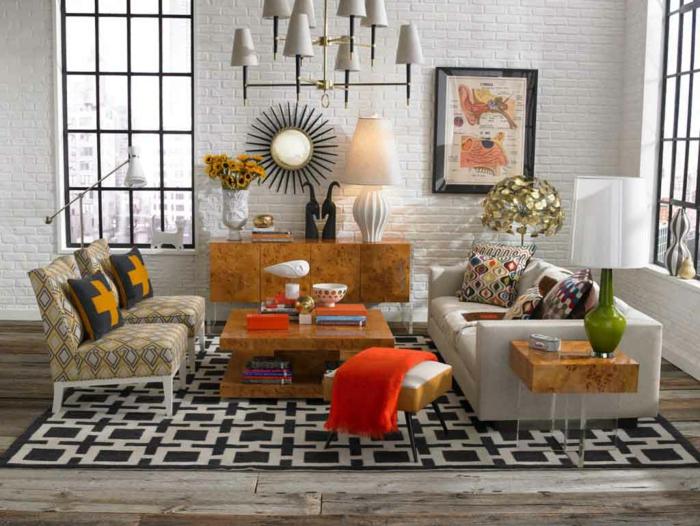 einrichtungsideen wohnzimmer ethnische elemente globaler chic stil