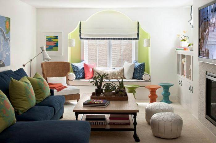 einrichtungsideen wohnzimmer globaler chic krasse farben