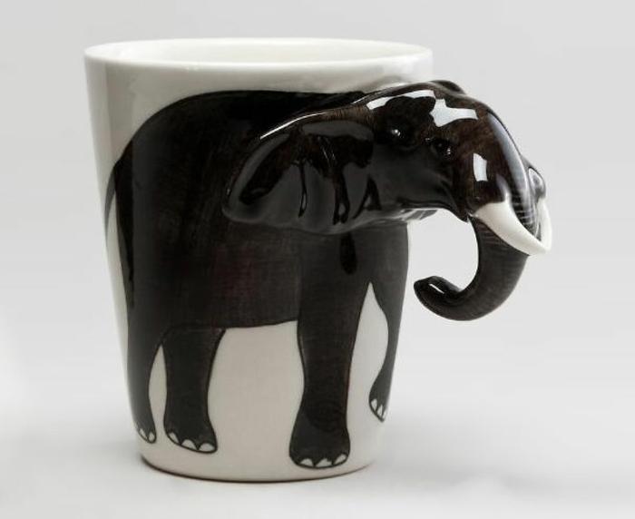 elefanten figuren teetasse schwarz weiß