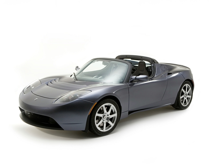 elektroauto tesla model roadster grau metallic