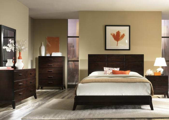 feng shui schlafzimmer einrichten naturfarben dunkles holz