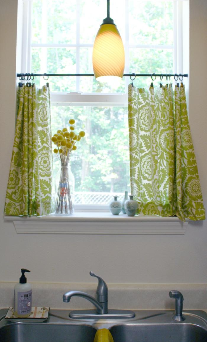 gardinen nähen küche grüne gardinen kurz