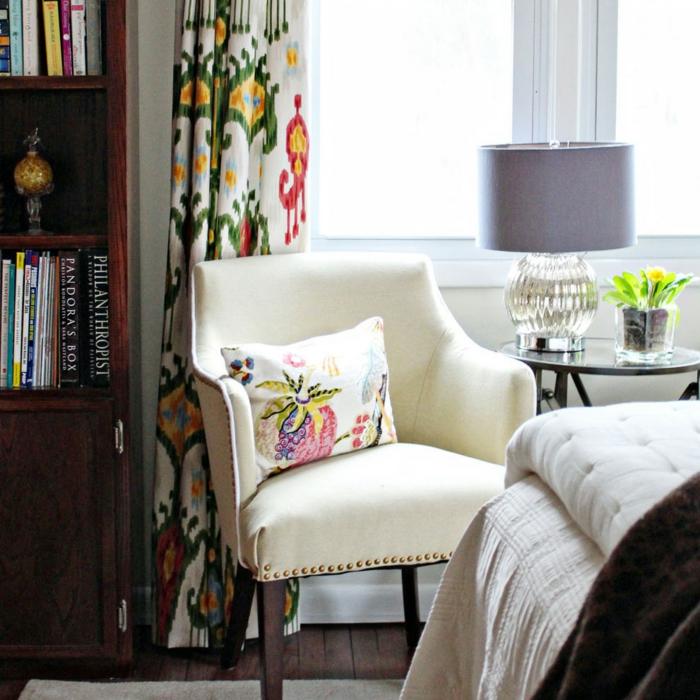 gardinen selber nähen frisches muster farbig