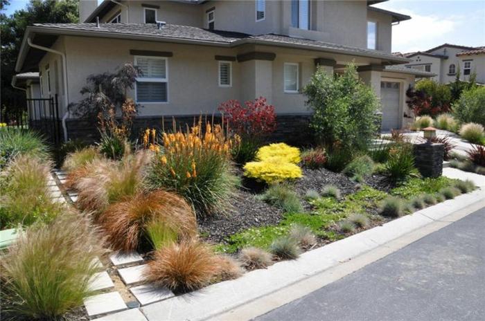 gartengestaltung ideen vordergarten pflanzen bodenfliesen