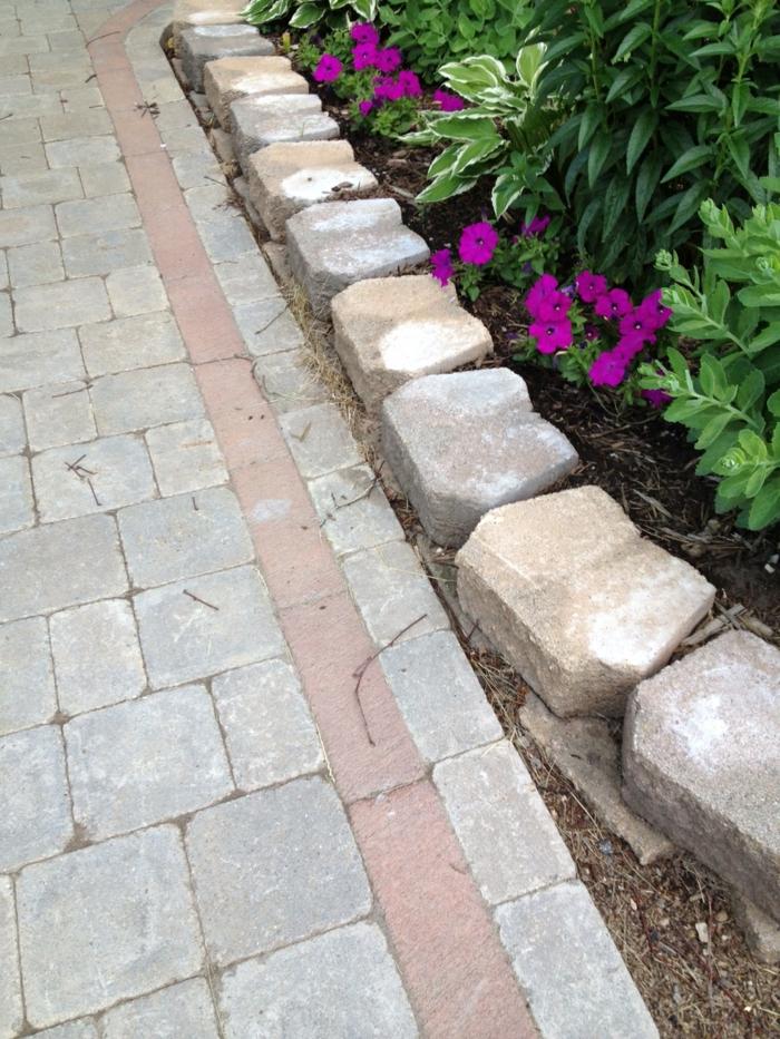 gartengestaltung mit steinen pflanzenbeete gartenweg