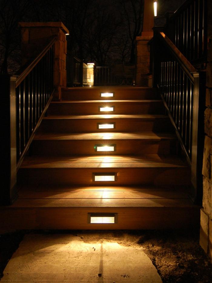 gartenideen garten beleuchtung trittstufen eingebaut