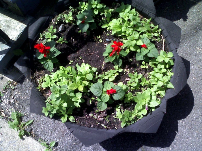 Kreative Gartentipps: Pflanzencontainer aus alten Autoreifen