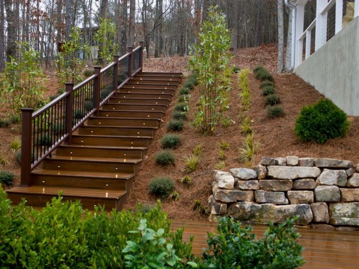 gartenideen treppen beleuchten gartenpflanzen steine