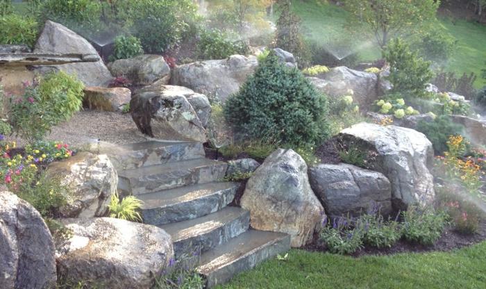 gartensteine große dekosteine gartentreppen stein