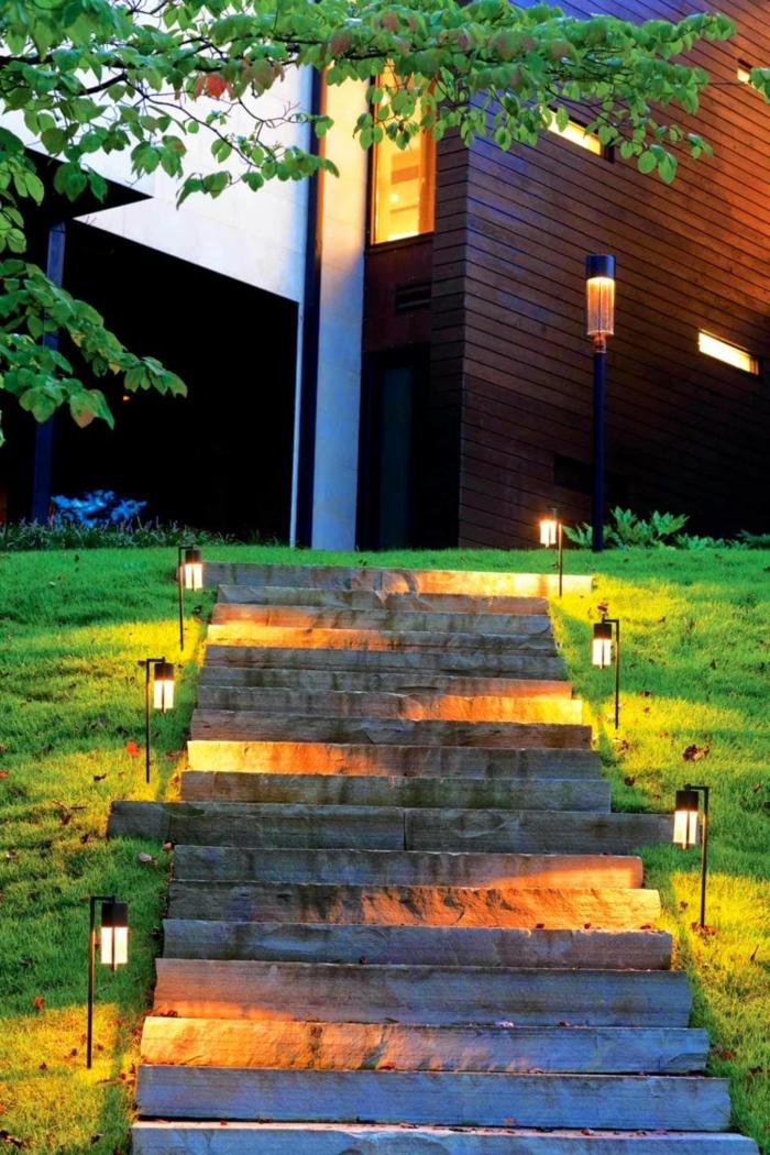 gartentreppe beleuchten gartenlampen außenbereich gestalten