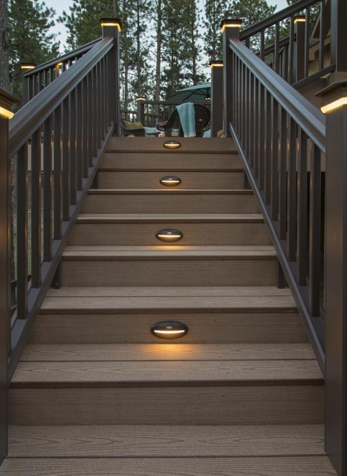 gartentreppe beleuchten höllzerne treppenstufen außenbereich