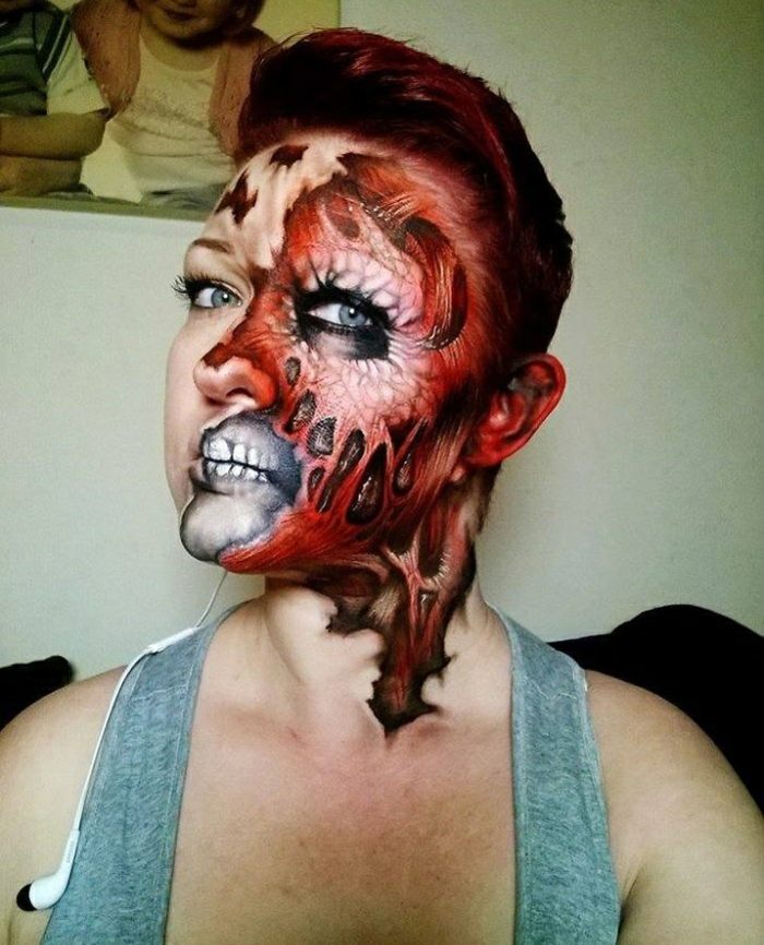grusellige Halloween Make up ideen Nikki Shelley detailierte akzente