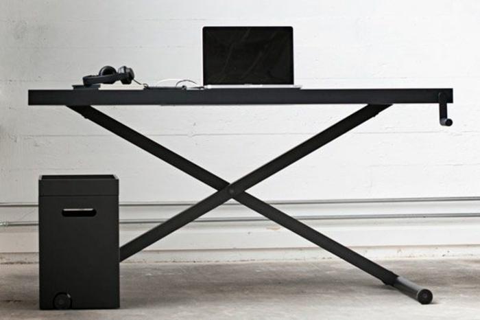 höhenverstellbarer schreibtisch schwarz büromöbel home office
