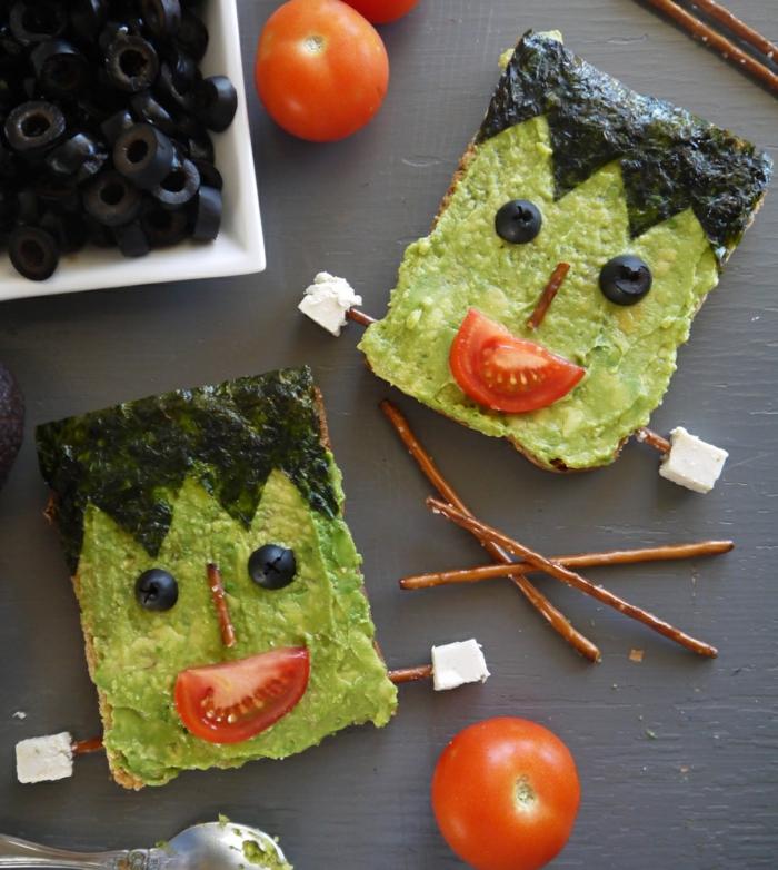 halloween essen frankenstein sandwich gesund originell