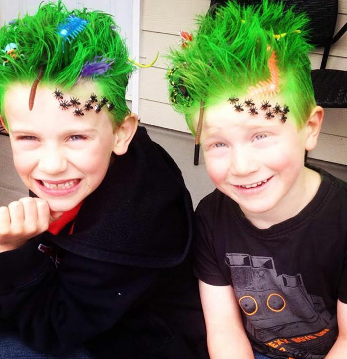 halloween frisuren junge mit grünen haaren