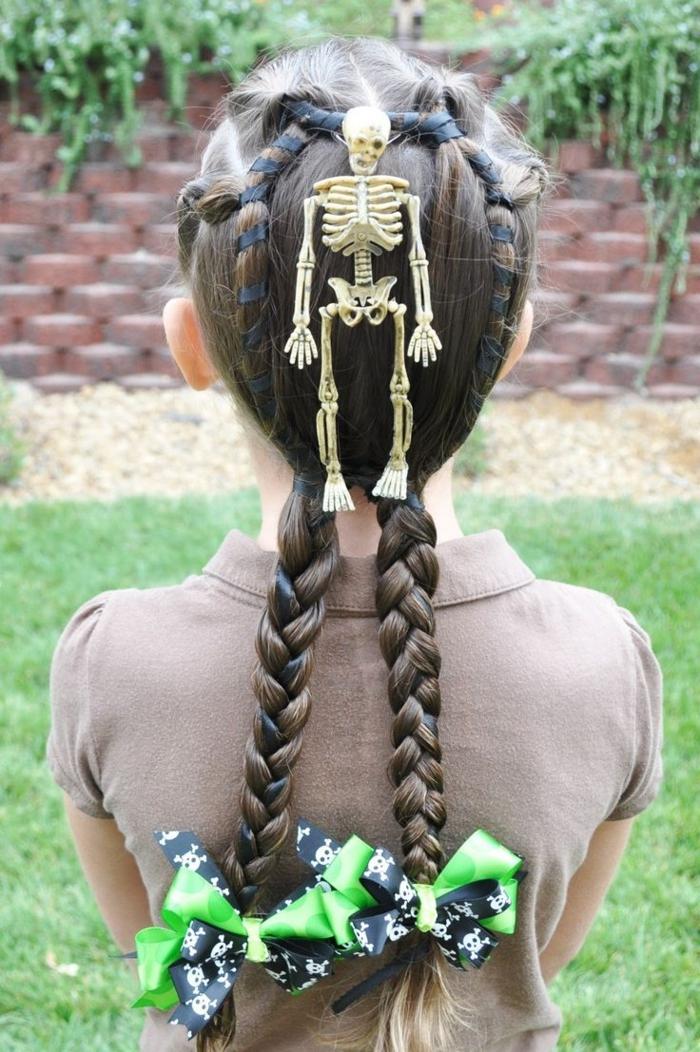 halloween frisuren mädchen skeletten zöpfe halloween kinder kostüme