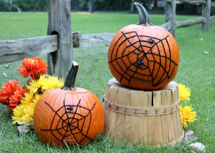 halloween ideen dekoideen kürbisse garten dekorieren