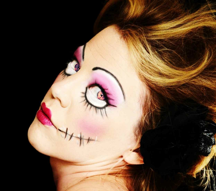 halloween make up ideen damen puppe