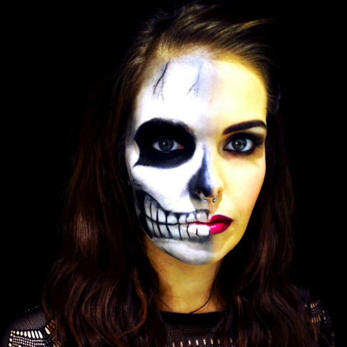 halloween make up ideen gerippe schminke frauen