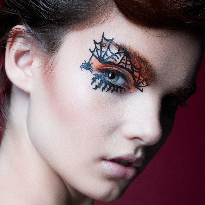 halloween make up ideen spinnennetz augenschminke frauen