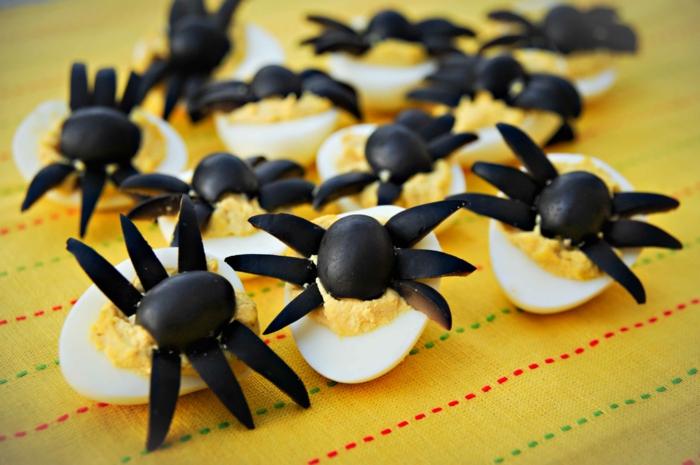 halloween rezepte eier oliven spinnen