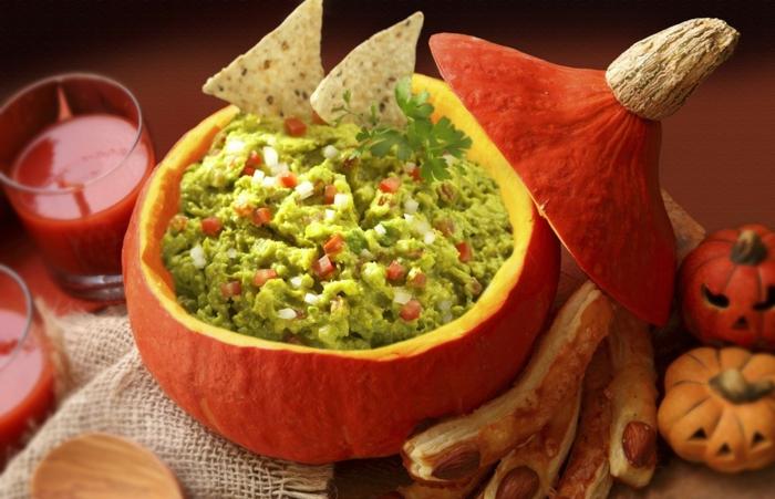 halloween rezepte gefüllter kürbis avocado