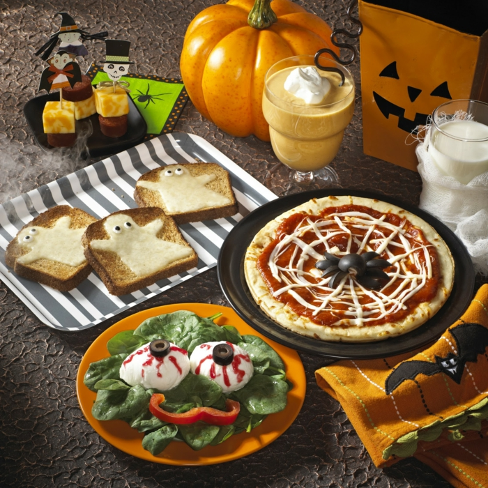halloween rezepte salat pizza toasts nachtisch