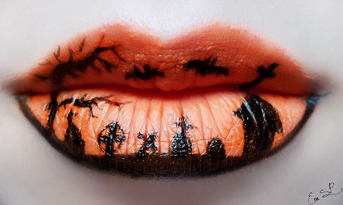 halloween schminktipps von eva pernas lippen schminken orange