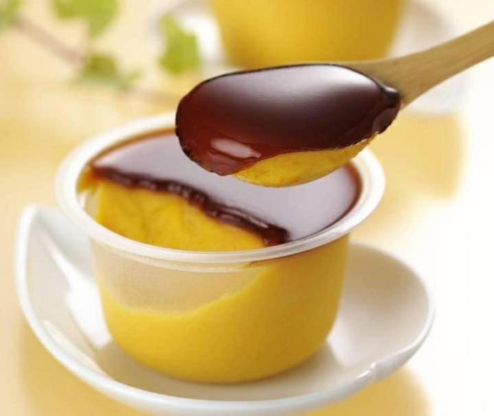 hokkaido kürbis pudding schokolade
