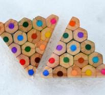 Ausgefallener Holzschmuck aus bunten Bleistiften