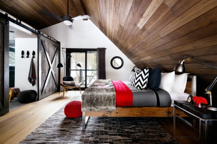 Schon Ideen Für Schlafzimmer Deckengestaltung Holz Ausgefallener Teppich Hölzerne  Elemente