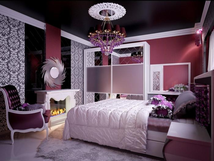 ideen für schlafzimmer schwarze decke wandtapeten teppich schöner ...
