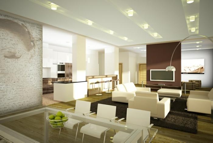 indirekte beleuchtung wohnzimmer offener plan