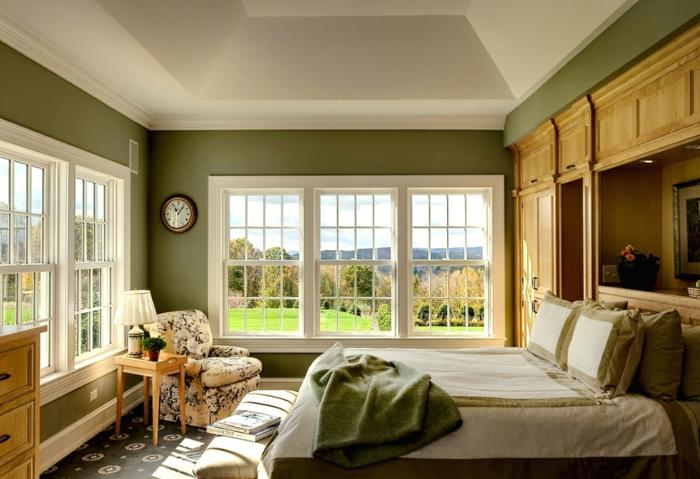 innendesign herbst grün farbton schlafzimmer