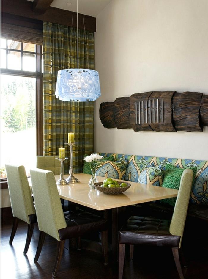 innendesign herbst grüne nuanchen naturholz wanddeko küche