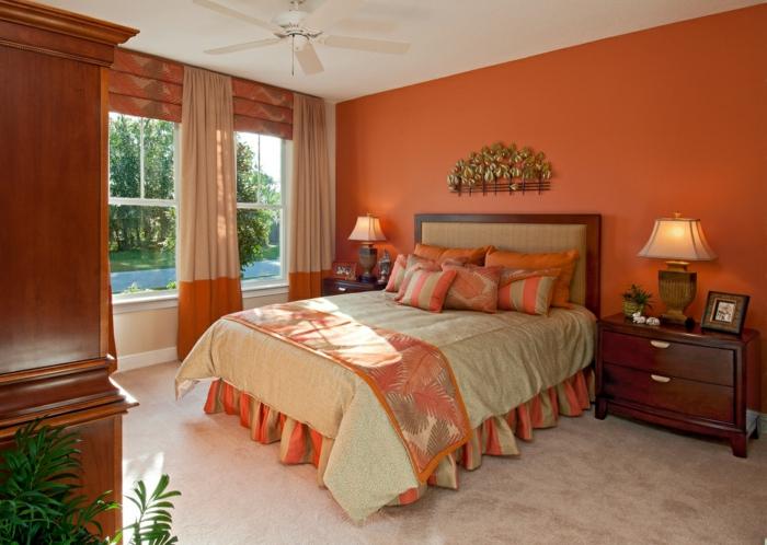 innendesign herbst naturfarbtöne orangenfarbige wände schlafzimmer
