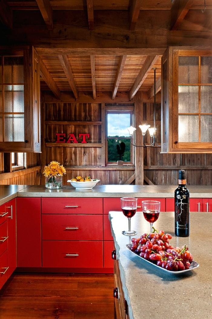 innendesign herbst rustikale küche rote unterschränke